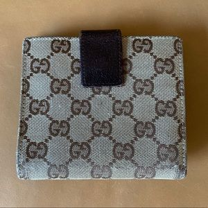 Gucci Bags - Authentic GUCCI Compact Logo Canvas/Leather Wallet